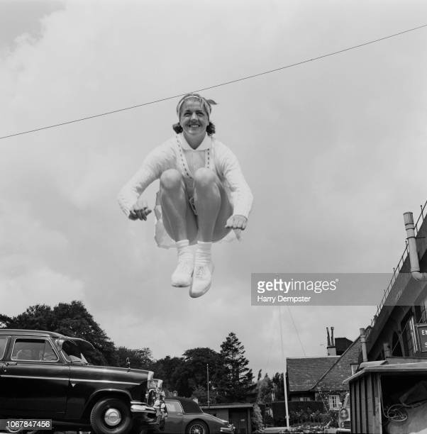 Australian tennis player Margaret Court pictured jumping in the air during an exercise routine in England prior to competing at the Wimbledon...