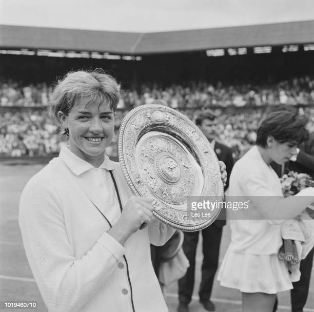 Australian tennis player Margaret Court with her trophy after winning the Women's Singles title at Wimbledon Championships All England Lawn Tennis...
