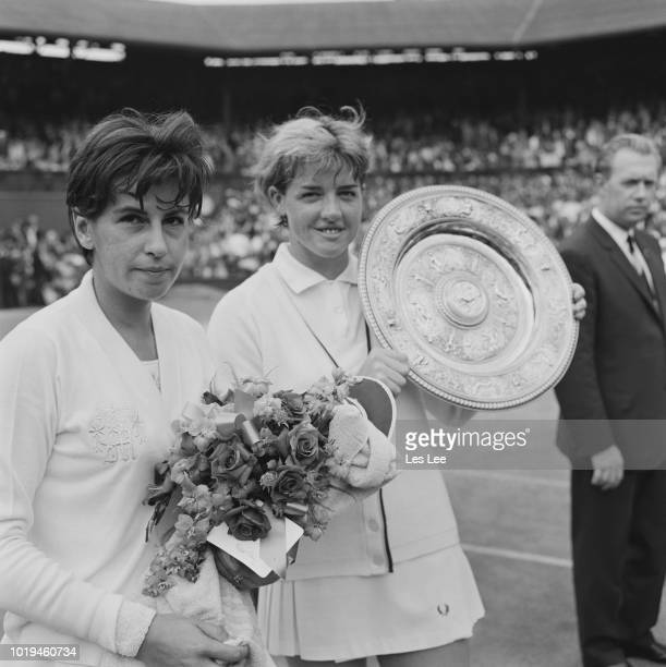 Australian tennis player Margaret Court with her trophy after winning the Women's Singles title at Wimbledon Championships and finalist Brazilian...