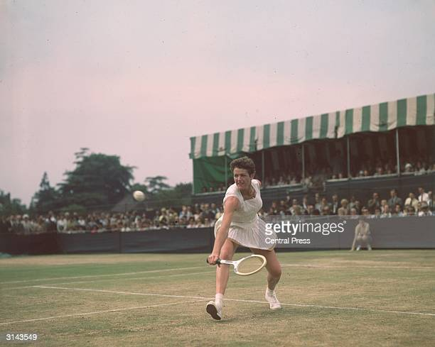 Australian tennis player Margaret Smith on court
