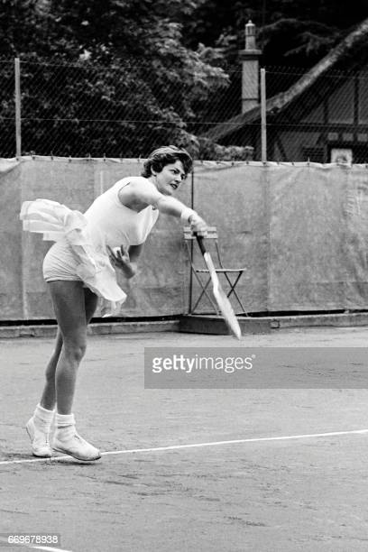 Australian tennis player Margaret Smith smashes to her opponent during a match of the French Tennis Open on June 02 1962 at Paris Smith won the...