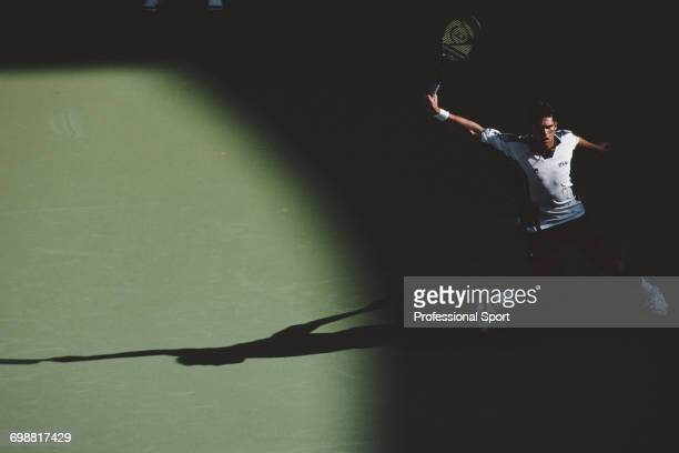 Australian tennis player Mark Philippoussis pictured in action to reach the fourth round of the men's singles tennis tournament at the 1999...
