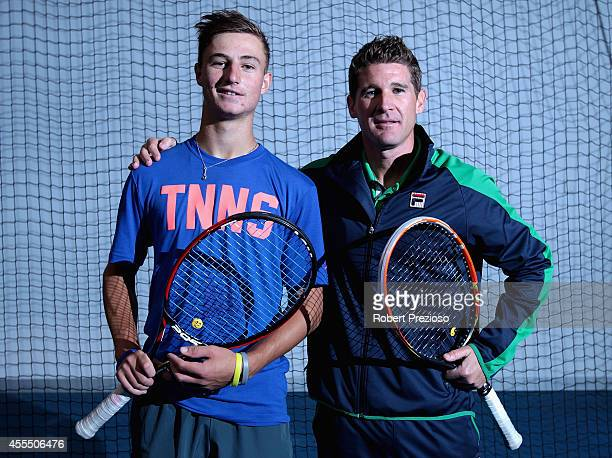 Australian tennis player Omar Jasika along with Tennis Australia National Academy coach Liam Smith pose for photos during a media opportunity at...