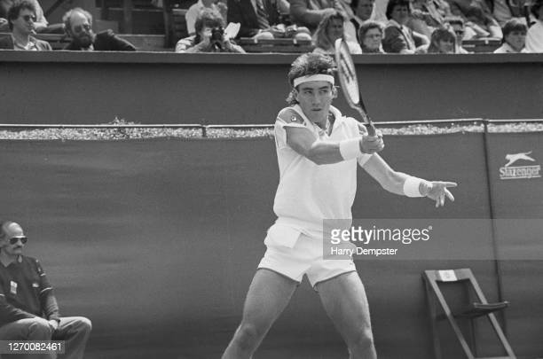Australian tennis player Pat Cash in action against Peter Doohan in the Stella Artois Championships at the Queen's Club in London 10th June 1985