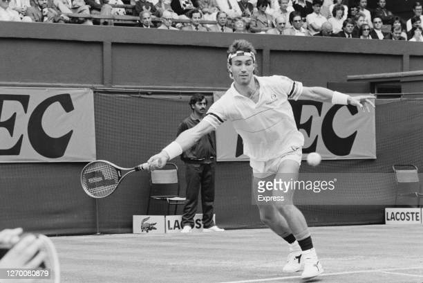 Australian tennis player Pat Cash on the court during the quarterfinals of the Davis Cup sponsored by NEC, London, UK, 19th July 1986.