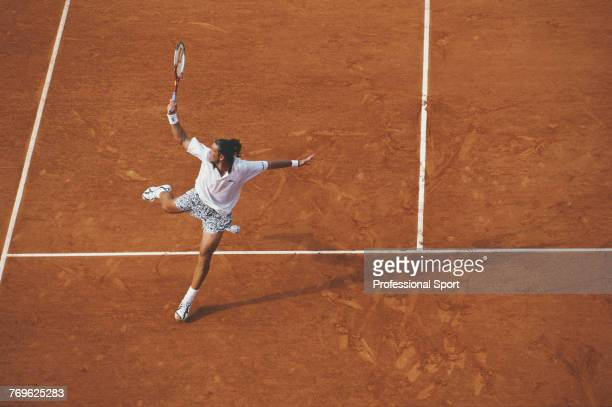 Australian tennis player Patrick Rafter pictured in action during competition to reach the third round of the Men's Singles tennis tournament at the...