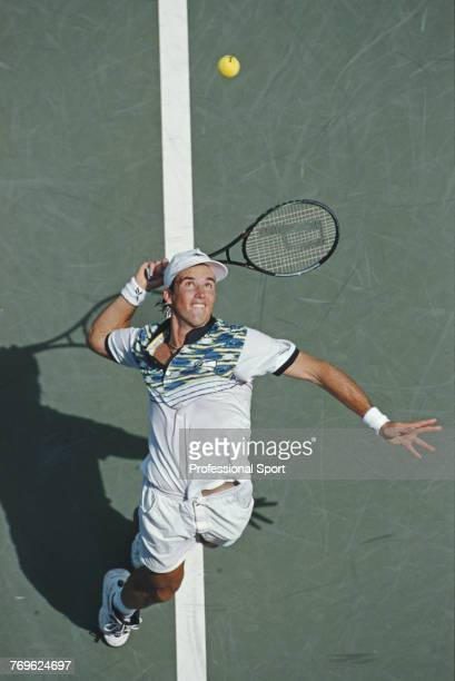 Australian tennis player Patrick Rafter pictured in action to lose to Danish tennis player Kenneth Carlsen in the first round of the 1996 US Open...