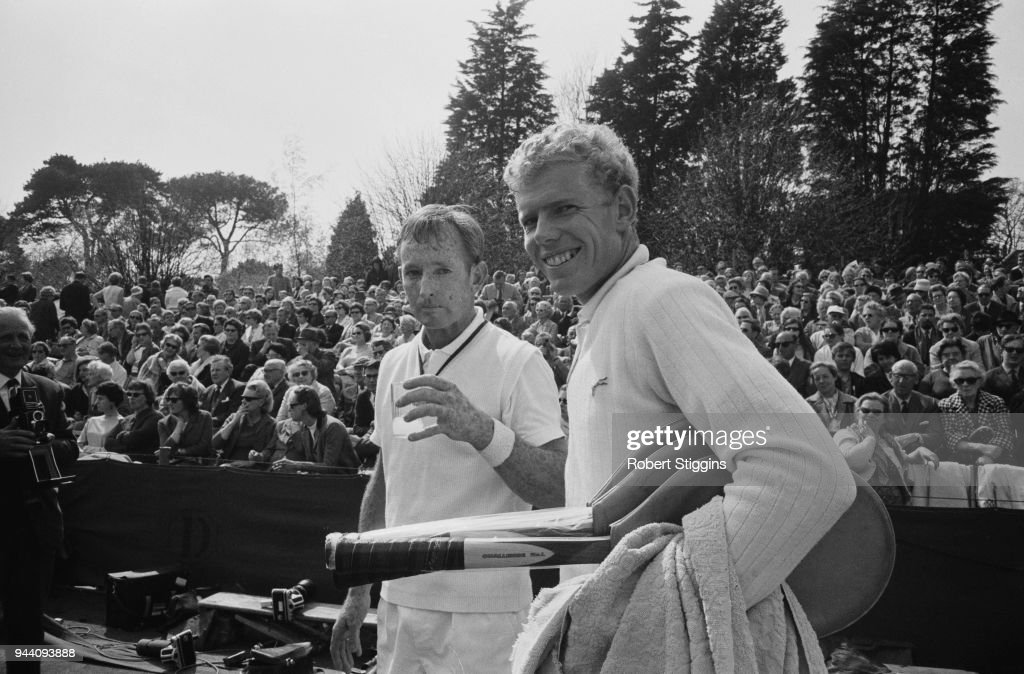 Australian tennis player Rod Laver and English tennis player Mark Cox at Bournmouth, UK, 27th April 1968.