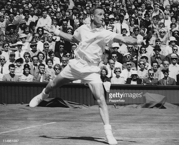 Australian tennis player Rod Laver during the Men's Singles semifinal against Ramanathan Krishnan of India on the Centre Court at Wimbledon 5th July...