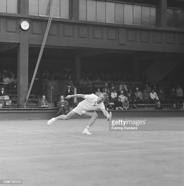 Australian tennis player Rod Laver in action during Wimbledon at the All England Lawn Tennis and Croquet Club London UK 5th July 1968