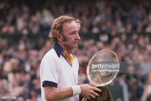 Australian tennis player Rod Laver pictured during competition to reach the second round of the Men's singles tournament at the Wimbledon Lawn Tennis...