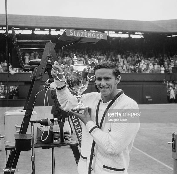 Australian tennis player Roy Emerson with the trophy after beating fellow Australian Fred Stolle to win the final of the Men's Singles at Wimbledon...