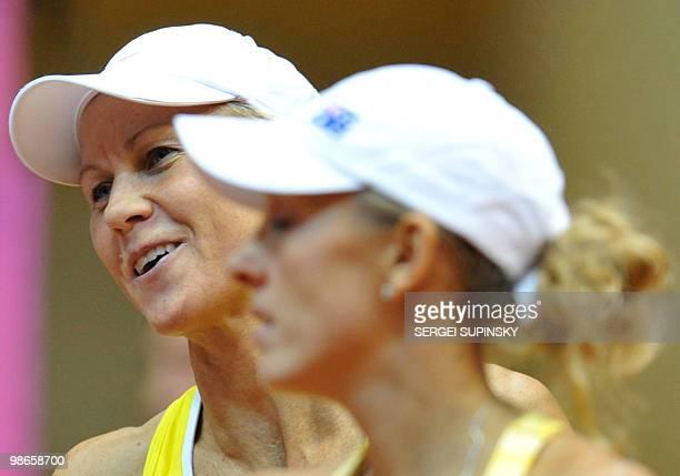 Australian tennis players Anastasia Rodionova and Rennae Stubbs reacts after they defeated Ukrainian Lyudmyla Kichenok and Nadiya Kichenok during...