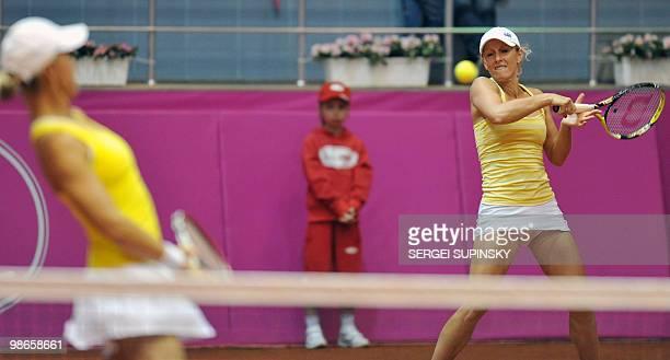 Australian tennis players Anastasia Rodionova and Rennae Stubbs play against Ukrainian Lyudmyla Kichenok and Nadiya Kichenok during their Fed Cup...