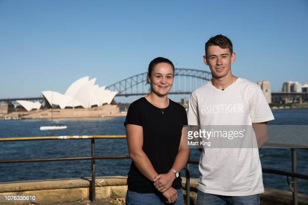 Australian tennis players Ashleigh Barty and Alex de Minaur pose during a media opportunity ahead of the 2018 Sydney International at Mrs Macquarie's...