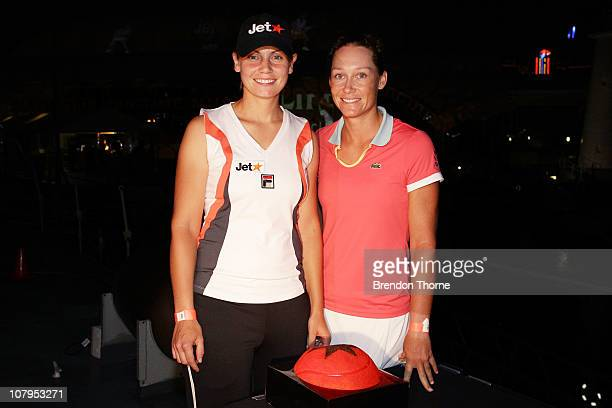 Australian tennis players Jelena Dokic and Samantha Stosur unveil a moving tennis projection across the Sydney Skyline on January 10, 2011 in Sydney,...