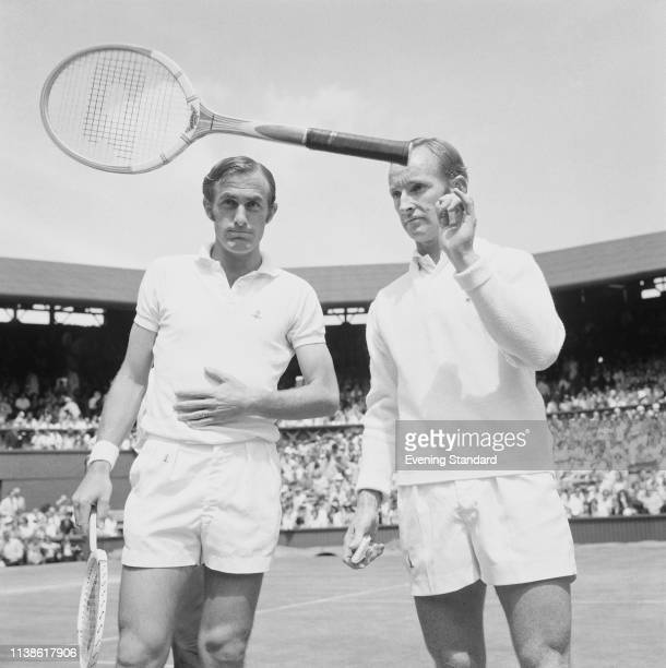 Australian tennis players John Newcombe and Rod Laver at the All England Lawn Tennis and Croquet Club before the Men's Singles Final Wimbledon...