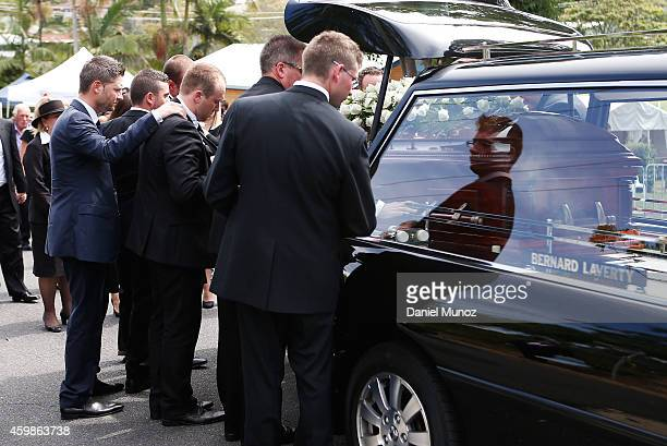 Australian Test Cricket Captain Michael Clarke consoles Jason Hughes during the Funeral Service for Phillip Hughes on December 3 2014 in Macksville...