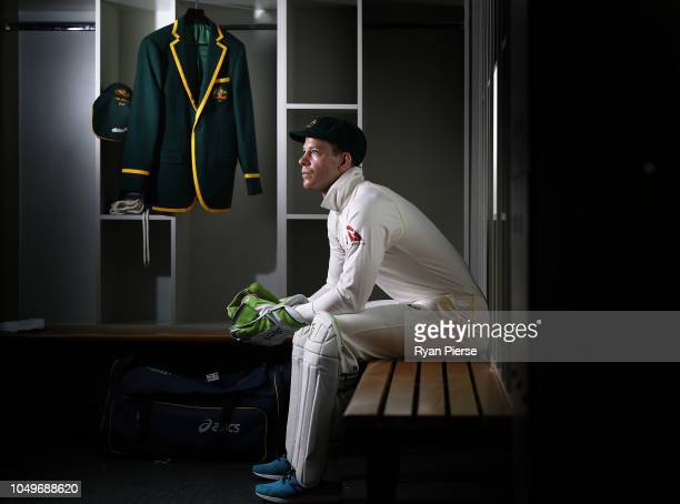 Australian Test cricket captain Tim Paine poses with his Australian Captain's Blazer during a portrait session at ICC Academy on October 05 2018 in...