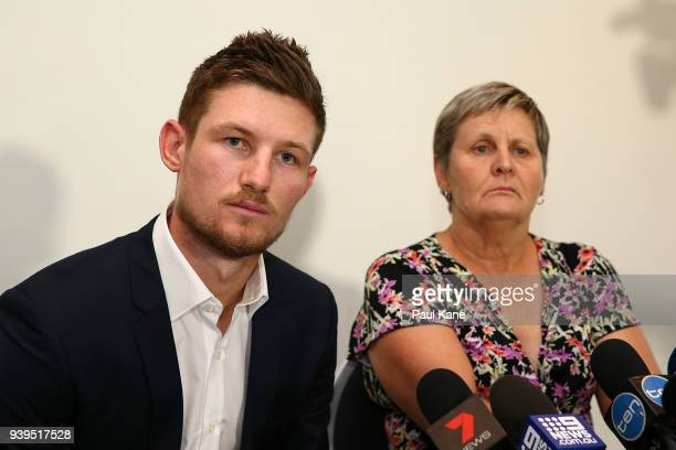 Australian test Cricket player Cameron Bancroft addresses the media with WACA CEO Christina Matthews at the WACA on March 29 2018 in Perth Australia...