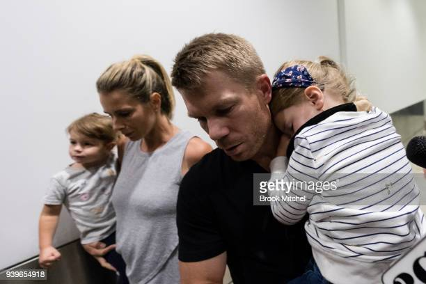 Australian Test cricketer David Warner and family arrives at Sydney International Airport on March 29 2018 in Sydney Australia Steve Smith David...