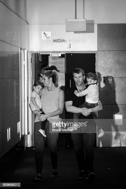 Australian Test cricketer David Warner his wife Candice and young children arrive at Sydney International Airport on March 29 2018 in Sydney...