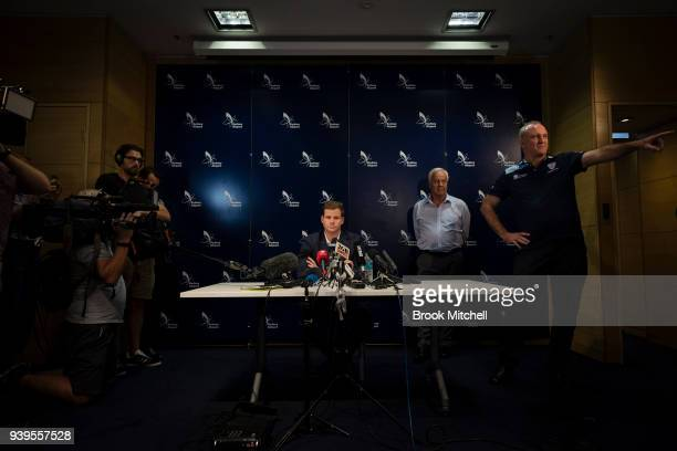 Australian Test cricketer Steve Smith confronts the media at Sydney International Airport on March 29 2018 in Sydney Australia Steve Smith David...
