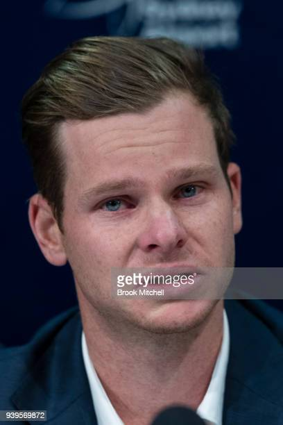 Australian Test cricketer Steve Smith fronts the media at Sydney International Airport on March 29 2018 in Sydney Australia Steve Smith David Warner...