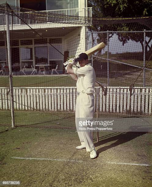 Australian test match cricketer Bill Lawry pictured during a practice session in nets in 1968 Lawry would become captain of the Australian national...