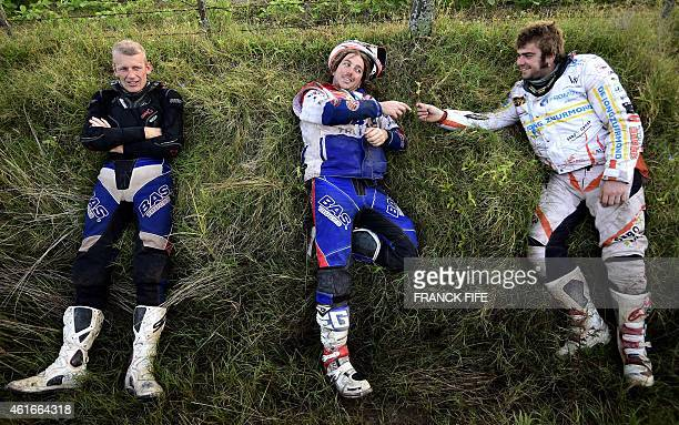 Australian Toby Price jokes with riders before the start of theStage 13 of the Dakar 2015 between Rosario and Buenos Aires Argentina on January 17...
