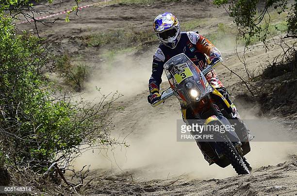 Australian Toby Price powers his KTM during the Stage 12 of the Rally Dakar 2016 between San Juan and Villa Carlos Paz Argentina on January 15 2016...