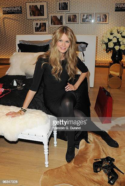 Australian top model Elle Macpherson poses presenting her new lingerie collection at Printemps Haussmann on February 2 2010 in Paris France