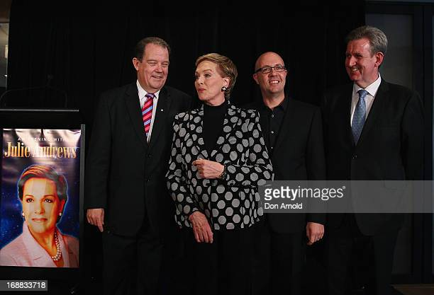 Australian tour producer John Frost actress Julie Andrews producer Phil Bathols and New South Wales Premier Barry O'Farrell pose at a press...