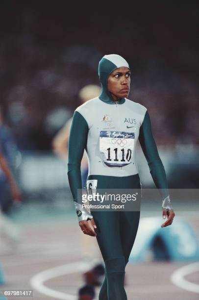 Australian track athlete Cathy Freeman pictured wearing a one piece body suit at the start prior to finishing in first place to win the gold medal in...