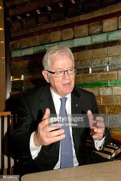 Australian Trade and Investment Minister Andrew Robb speaks during the Asahi Shimbun interview on November 19 2013 in Tokyo Japan