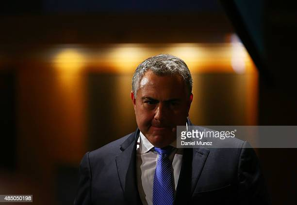 Australian Treasurer Joe Hockey arrives to deliver a speech at Westin Hotel on August 24 2015 in Sydney Australia The Coalition Government has...
