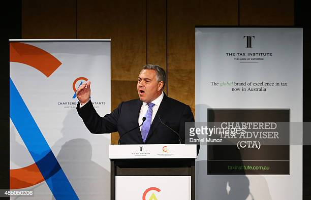 Australian Treasurer Joe Hockey delivers a speech at Westin Hotel on August 24 2015 in Sydney Australia The Coalition Government has announced it...
