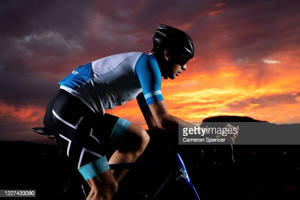 Australian triathlete Aaron Royle trains on his bike at Wollongong Head on May 27 2020 in Wollongong Australia Royle usually spends eight months a...