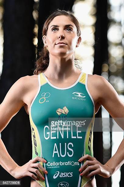 Australian triathlete Ashleigh Gentle poses during a portrait session on June 24 2016 on the Gold Coast Australia