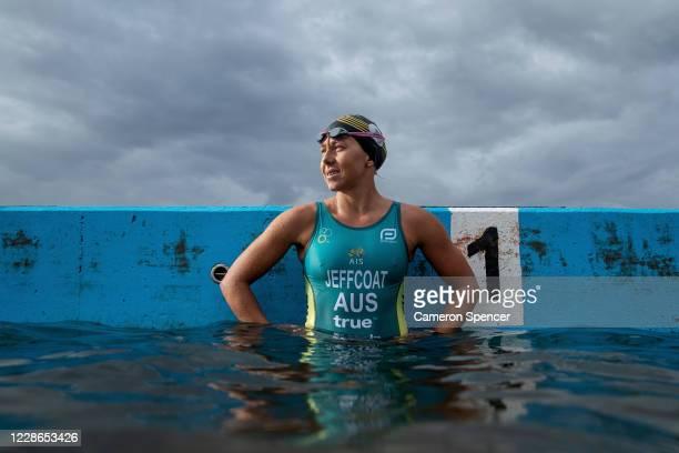 Australian triathlete Emma Jeffcoat looks on during a swim training session at Collaroy ocean pool on May 29 2020 in Sydney Australia Jeffcoat...