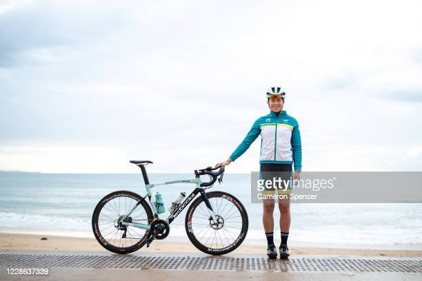 Australian triathlete Emma Jeffcoat poses at Collaroy Beach on May 29 2020 in Sydney Australia Jeffcoat usually spends half the year training and...