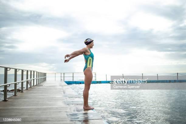 Australian triathlete Emma Jeffcoat prepares for a swim training session at Collaroy ocean pool on May 29 2020 in Sydney Australia Jeffcoat usually...