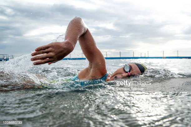 Australian triathlete Emma Jeffcoat swims during a training session at Collaroy ocean pool on May 29 2020 in Sydney Australia Jeffcoat usually spends...