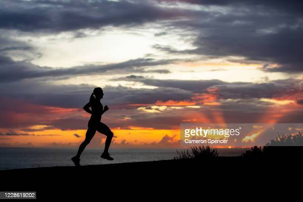 Australian triathlete Emma Jeffcoat trains at Dee Why Headland on May 29 2020 in Sydney Australia Jeffcoat usually spends half the year training and...