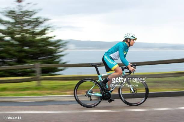 Australian triathlete Emma Jeffcoat trains on her bike at Long Reef Headland on May 29 2020 in Sydney Australia Jeffcoat usually spends half the year...