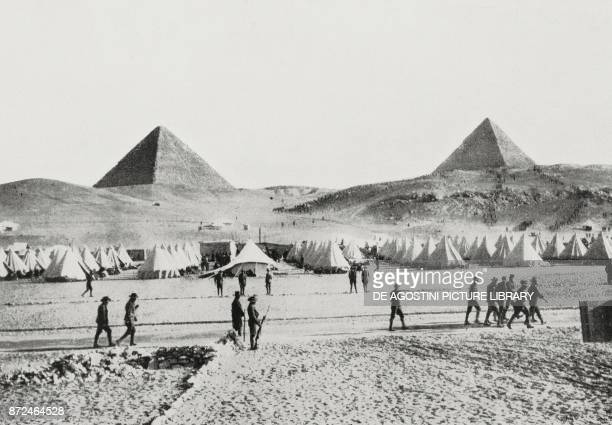 Australian troop encampment at the pyramids Egypt World War I photo by Underwood from L'Illustrazione Italiana Year XLII No 3 January 17 1915