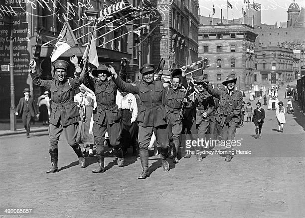 Australian troops and civilians celebrate Armistice Day Hunter Street Sydney 11 November 1918