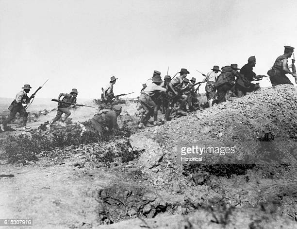Australian troops charge near a Turkish trench just before the evacuation at Anzac. When they got there the Turks had flown. Dardanelles Campaign,...