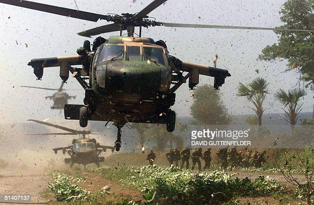 Australian troops land Blackhawk helicopters to deploy troops outside the East Timor town of Liquica Monday Sept 27 1999 Peace keepers are stepping...
