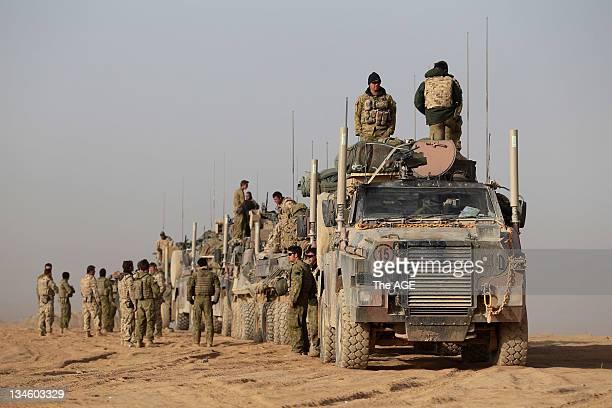 Australian troops move in convoy eastward from Tarin Kowt in Uruzgan provence Afghanistan.